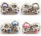 Wholesale Various Faux Pearls Charms Beads For Bracelet Jewelry Findings 14x9mm