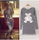 Fashion Women Long Sleeve Stripe Anchor Bear Print Dress Shirt Top Blouse Blusas