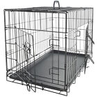 "42"" Dog Crate 2 Door w Divide w Tray Fold Metal Pet Cage Kennel House for Animal"