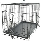 """30"""" Dog Crate 2 Door w Divide w Tray Fold Metal Pet Cage Kennel House for Animal"""