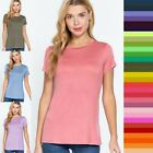 Women's V-Neck Elbow 3/4 Cuff Sleeve Basic T-Shirt Soft Stretchy Tee Top #T9671