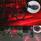 5 LED 2 Laser Bicycle Cycling Bike Red Beam Rear Lights Back Tail Lamp Safety