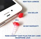 ROSE FLOWER DUST PLUG 3.5mm headphone jack for iPhone 4s 5c 6 plus galaxy s6+ s7