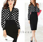 Lady Women's Polka Dot Fitted Pencil Wiggle Bodycon Business Retro Smart Dress