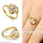 Womens Golden Stainless Steel CZ Cubic Zirconia Wedding Band Finger Ring Elegant