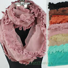 Organza With Mohair Trim Infinity 2-Loop Cowl Eternity Endless Circle Scarf