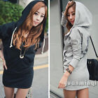 Autumn Winter Women Casual Long Sleeve Wing Print Zip Coat Hoodie Mini Dress