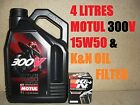 4L LITRE MOTUL 300V 15W50 OIL AND K&N KN158 FILTER CHANGE KTM 1190 RC8 R 11 2011