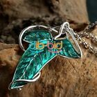 Amazing Jewelry Green Color Leaf Elven Pin Brooch Pendant Chain Necklace Gift