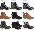 WOMENS LADIES FLAT LOW HEEL FAUX LEATHER ANKLE BLACK CHELSEA BOOTS SHOES SIZE