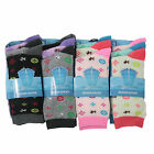 L007 LADIES GIRLS ALL OVER DESIGNER PATTERN DESIGN SOCKS CUTE FUNKY COLOURS 4-7