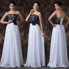 Ladies Lace Black & White Cocktail Ball Gown Wedding Party Evening Prom Dresses