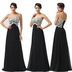 Empire Bodice Lace Sequins Long Chiffon Formal Evening Cocktail Prom Gown Dress