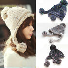 Fashion Comfy Pompoms Knitted Beanie Cap Winter Ski Warm Earmuffs Hat UT303