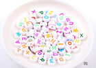 100Pcs Acrylic Mixed Alphabet Letter Coin Round Flat Spacer Beads DIY Pick