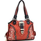 Women Leather Stitched Studded Western Rhinestone Buckle Handbag Shoulder Bag