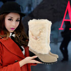 Mid calf boots womens wedge pumps faux fur furry warm winter shoes black brown
