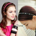 Unisex Bow Spike Rivets Studded Headband Party Punk Hair Band Alloy + PU Leather