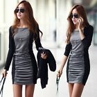 Women Sexy Crew Neck Lace Splicing Pencil Dress Pleated Wrapped Evening Dresses
