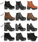 WOMENS LADIES BLOCK HEEL CHELSEA PLATFORM CHUNKY LACE ZIP ANKLE BOOTS SHOES SIZE