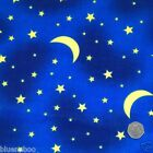 per metre/ FQ moon & stars blue & yellow polycotton fabric dressmaking/craft