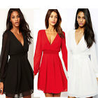 Womens Sexy Deep V Neck Chiffon Long Sleeve Evening Party Cocktail Mini Dress