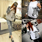 2014 Korean Long Sleeve Baseball Tshirt Zebra Women Jersey Casual Top Tee F