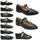 NEW WOMENS LADIES GIRLS CUT OUT FLAT SCHOOL T BAR OFFICE PUMPS WORK GEEK SHOES