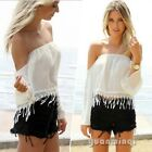 Sexy New Women Casual Off Shoulder Boho Tassel Club Party Crop Top Blouse Shirt