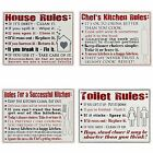 House And Home Large Rectangular MDF Wooden Wall Plaques Sign Rules Present Gift