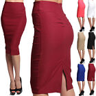 Themogan Yoke Pleated Back High Waisted Pencil Skirt Straight Knee Length