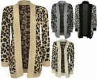 New Womens Animal Leopard Print Pattern Knitted Ladies Open Cardigan Top 8-14