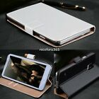 Luxury Flip Wallet Genuine Leather Stand Case Cover For Samsung Black White