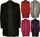 New Womens Open Cardigan Ladies Plain Long Sleeve Ruched Pocket Stretch Top 8-14