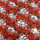 per 1/2 metre/fat quarter 100 % cotton red  mini skulls & roses fabric goth