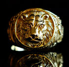 Lion Head Crafted Gold Plated Brass Men's Giraffes Eagle Lion Wedding Ring M58
