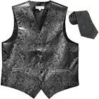 New Men's Formal Vest Tuxedo Waistcoat necktie paisley pattern prom dark gray