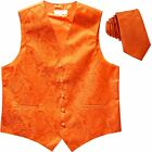 New Men's Formal Vest Tuxedo Waistcoat necktie paisley pattern wedding orange