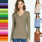 Women V-Neck T-shirt  Solid Plain Cotton Blend Layer Fitted Tee Top GT-3004 8750