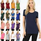 Women's Short Sleeve Scoop Neck T-Shirt Soft Stretchy Cotton Long Tee Top GT3007
