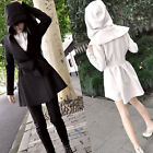 Fashion Women Celeb Lapel Long Sleeve Casual Open Hooded Trench Coat Jacket Belt