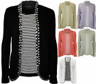 New Plus Size Womens Stripe Insert Ladies Long Sleeve Knitted Cardigan Top 16-22