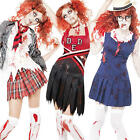 Zombie School Girls + Blood + Stockings Ladies Halloween Fancy Dress Costume New