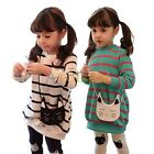 Kids Girls Striped Top Dress Shirt Cat Leggings Pants Suit 2pcs Outfits Clothes