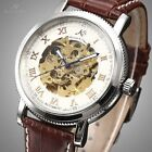 KS Automatic Mechanical Skeleton Strap Leather Men Wrist Watch