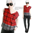 RTBU Punk Red Gray Truck Muscle Shirt Tank Fray Raw Edge Tartan Flannel Plaid