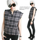 RTBU PunkGray Truck Driver Muscle Top Fray Raw Edge Tartan Wool Flannel Checker