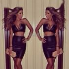 Womens Sexy Wet Look Faux Leather Sleeveless V Neck Crop Top + Skirt Two Piece