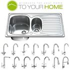 1.5 One & Half Bowl Stainless Steel Kitchen Sink with Tap, Drainer & Waste 1501