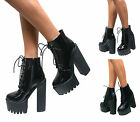 LADIES WOMENS CHUNKY CLEATED SOLE HIGH HEEL PLATFORM LACE UP ANKLE BOOTS SHOES